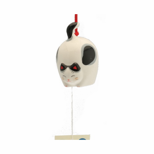 Ceramic Flying Blank and White Cat Wind Chime