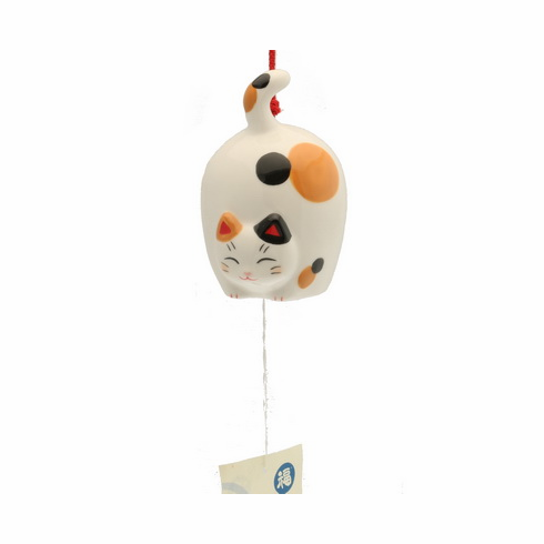 Ceramic Flying Calico Cat Wind Chime