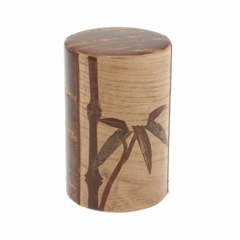 Cherry Wood Cherry Bamboo Canister, Holds 120 Grams