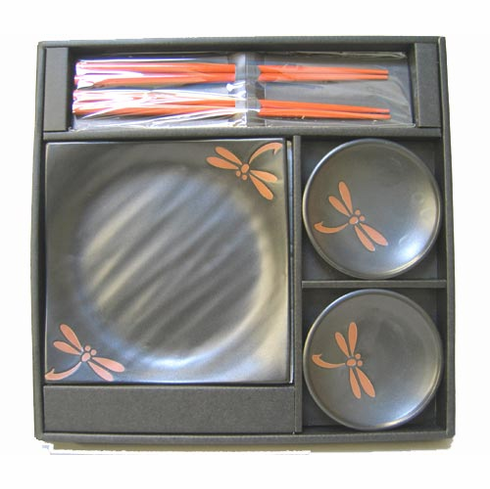 Chocolate Dragonfly Sushi Dishes & Chopsticks Set