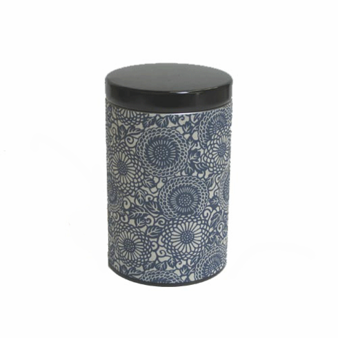 Chrysanthemum Aizome Tea Canister,  Holds 100 Grams