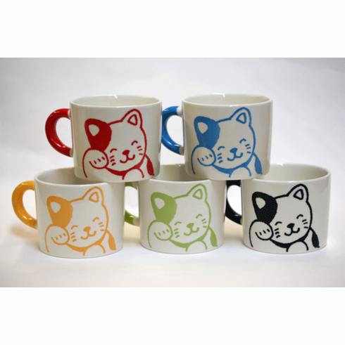 Color Happy Cat Mugs, 12 oz. <br>Choose from Five Colors