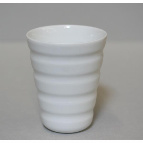 Conical Elongated Horizontal Lines White Porcelain Cup, 8 oz.