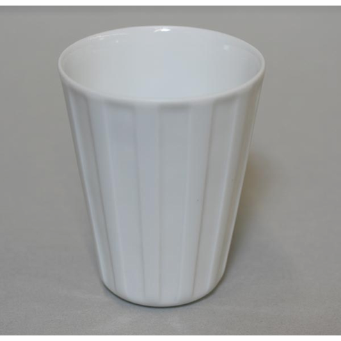 Conical Elongated Vertical Lines White <br>Porcelain Cup, 8 oz.