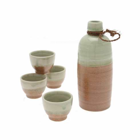 Crystal Jade Sand Sake Container & <br> 4 Cups Set