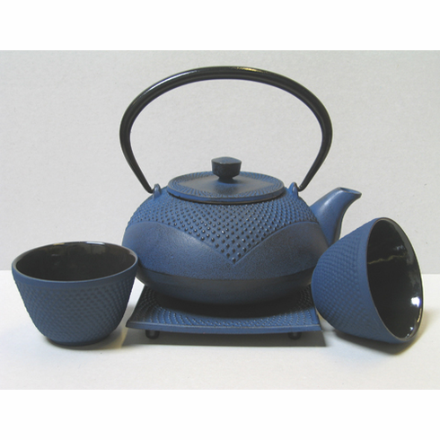 Deep Blue Partial Hobnail Cast Iron Teapot 20 oz. 2 Cups and Trivet Set
