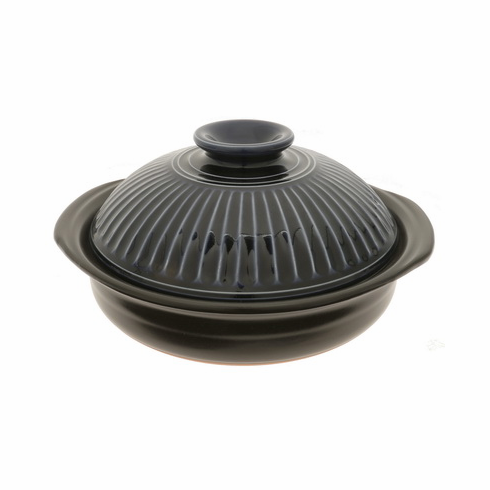 """Donabe/Japanese Hot Pot/Casserole<br> Black Lapis 10"""" & 11-3/8"""" <br>Made in Japan"""