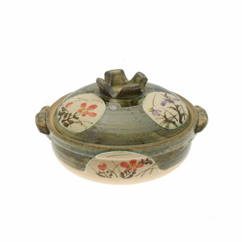 """Donabe/Japanese Hot Pot/Casserole <br>Garden Floral 9-3/4"""" & 10-3/4"""" <br>Made in Japan"""