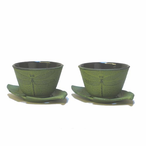 Dragonfly Cast Iron Tea Cup and Leaf Coaster Set
