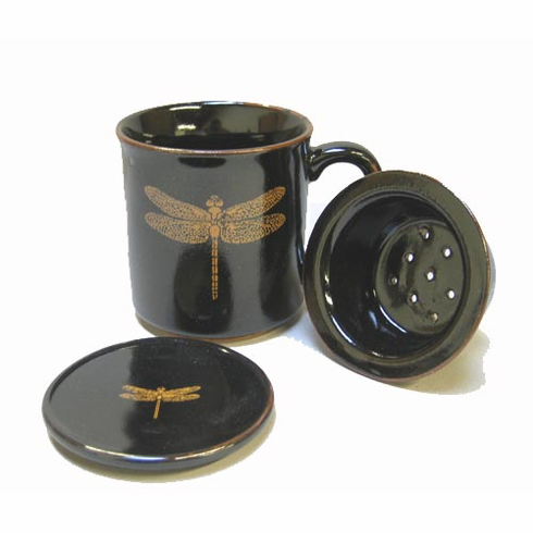 Dragonfly Mug with Lid & Infusion Strainer 10 oz.