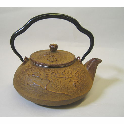 "Earthy Brown Cast Iron Plum Teapot - Shinonome Ume 18 oz.<font color=red><i>""Out of Stock""</i></font>"