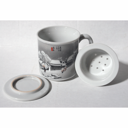 """""""Fifty Three Stages of the <i>Tokaido</i>""""   <br>Mug with Lid & Infusion Strainer, 10 oz"""