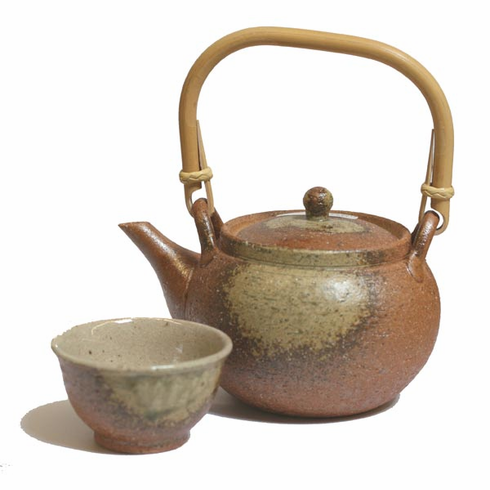 Fire Earth Teapot and Cup Set, 24 oz.