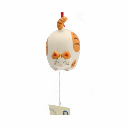 Flying Tabby Cat Ceramic Wind Chime