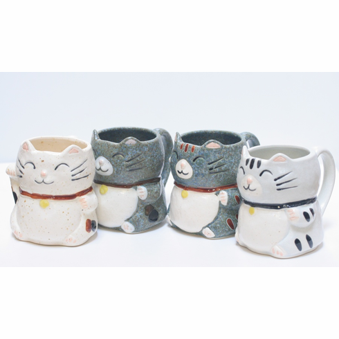 Four Different Color Lucky Tabby Mugs