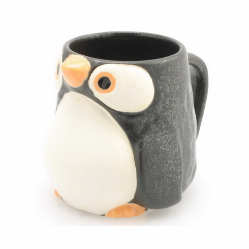 Four Different Color Penguin Mugs, 10 oz.