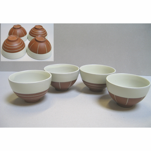 Four Modern Ceramic Tea Cups 5 oz.
