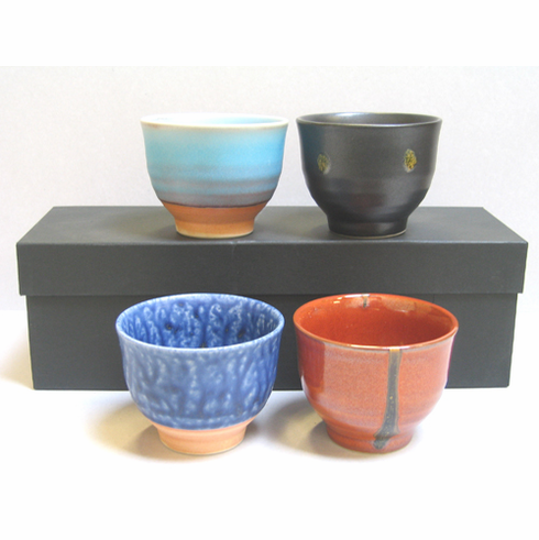 Four Multicolored Ceramic Tea Cups, 5 oz.