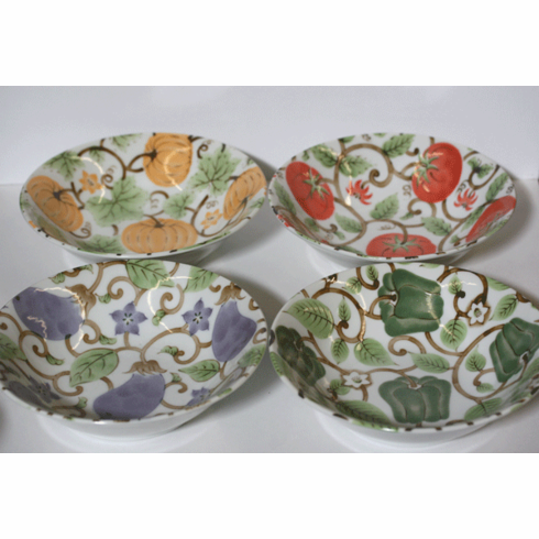 Four Vegetable Fruit/Snack Bowls