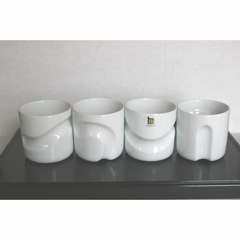 Four White Hakusan Porcelain Sake/Wine Cup Set, Design by Masahiro Mori