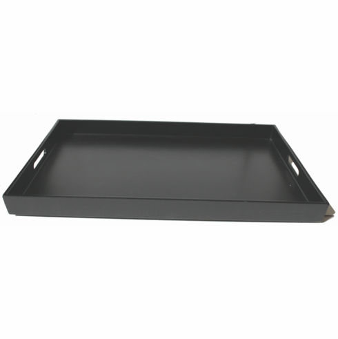 "Glossy and Mat Black Finish Plastic Lacquerware Tray, 18-5/8"" x 12-1/4"" x 1-1/2"""