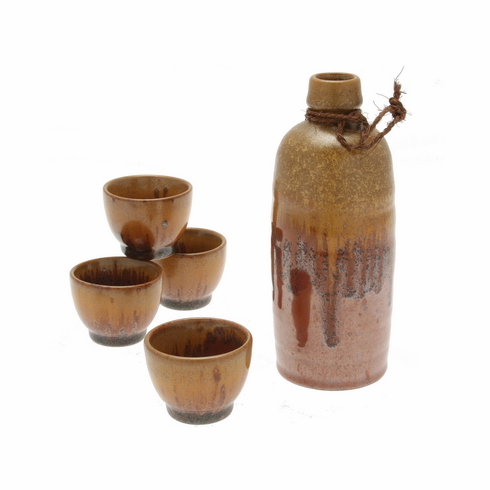 Glowing Magma Sake Container &  <br>4 Cups Set