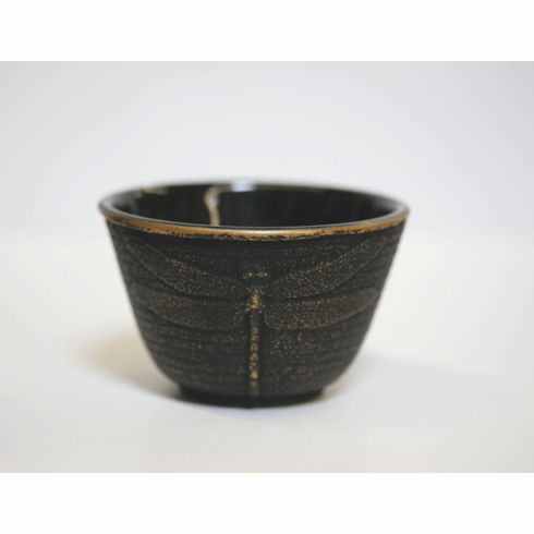 Gold and Black Dragonfly Tea cup, 4 oz.