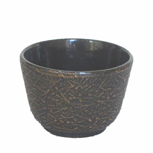Gold and Black Pine Needle Cast Iron Tea Cup, 4 oz. by Iwachu