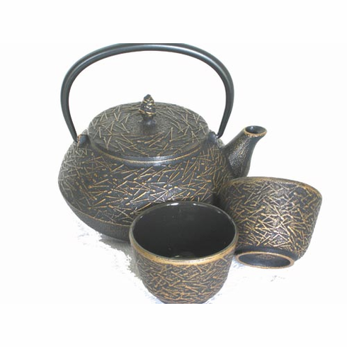 Gold and Black/Silver and Black Pine Needle Cast Iron Teapot 20 oz. and Two Tea Cups
