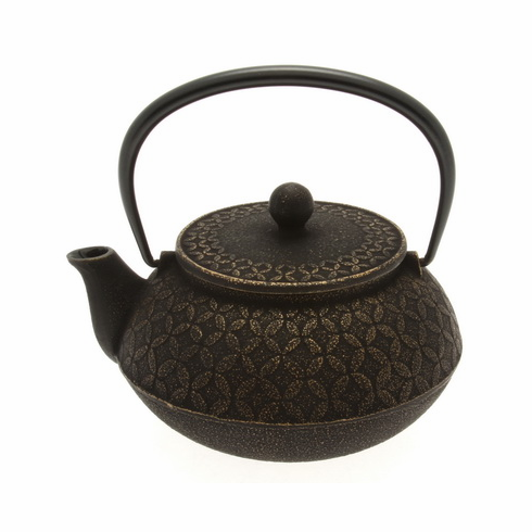 Gold and Black Tessellation Cast Iron Teapot, 20 oz.