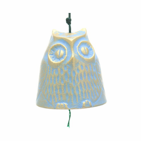 Gold and Blue Color Cast Iron Owl  <br>Windchime