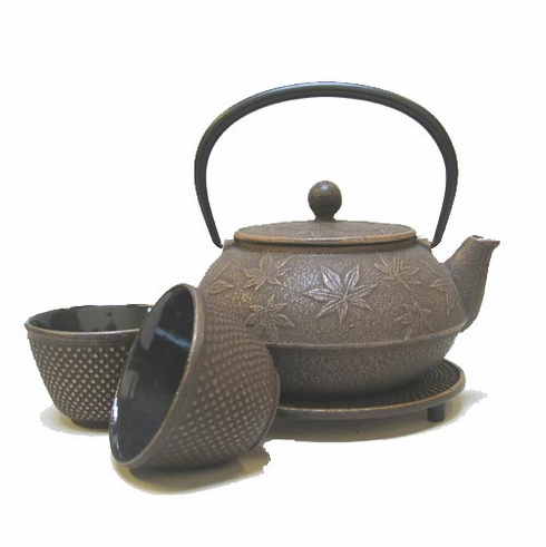 Gold and Brown Maple Leaf Cast Iron Teapot  Set  by Iwachu, 20 oz.