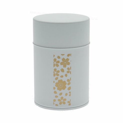 Gold and White Cherry Blossom  <br>Tea Canister, Holds 100 Grams