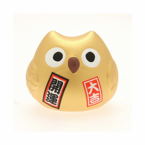 Gold Ceramic Owl Lucky Charm Fortune