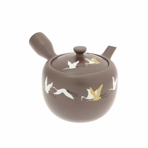 Gold & White Cranes Banko Kyusu <br>Tea Pot, 10 oz.