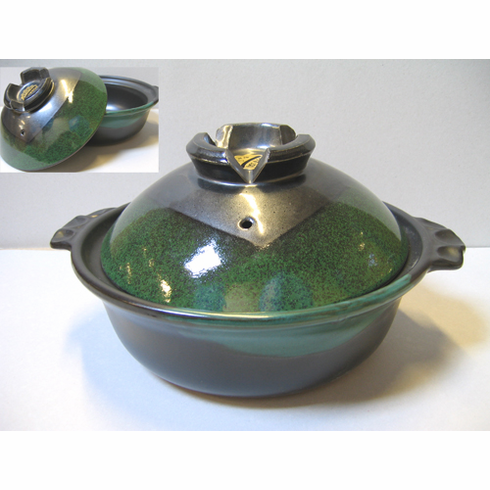 """Green and Black Donabe Pot 9-3/4"""" Made in Japan<font color=red><i>""""Out of Stock""""</i></font>"""