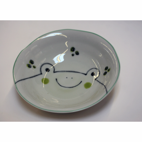 Green Frog Face Shallow Bowl 6-1/2""