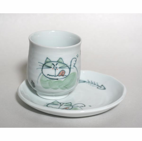 Green Kitty Tea Cup, 8oz,  with Matching Plate