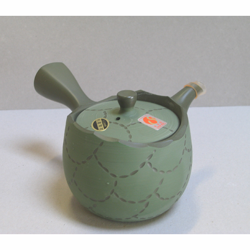 """Green Scale Ceramic """"Kyusu"""" Teapot 10 oz.<font color=red><i>""""Temporarily Out of Stock""""</i></font>"""