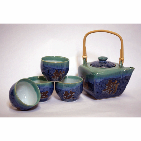Indigo Calligraphy Tea Set for Four, 24 oz.