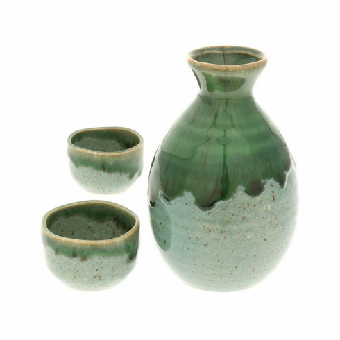 Irionmote Green Sake Container &  <br>2 Cups Set