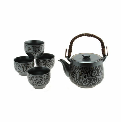 Iron/Oribe Arabesque Ceramic Teapot with Wicker Handle & Tea Cups Set, 24 oz.