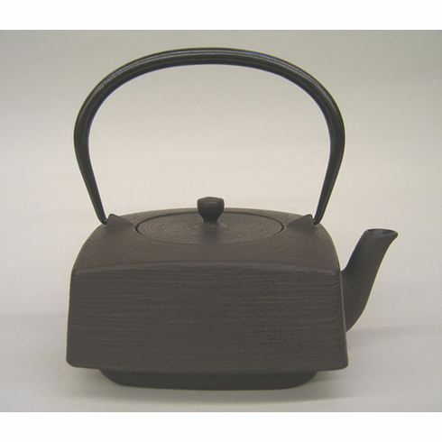 "Iwachu Antique Brown Square Brush Finish Cast Iron Teapot 32 oz.<font color=red><i>""Sold Out""</i></font>"