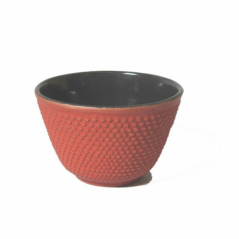 Iwachu Cast Iron Tea Cup Gold and Red Hobnail, 4 oz.