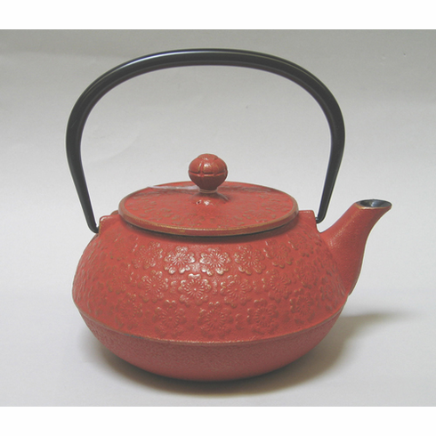Iwachu Gold and Red Cherry Blossom Cast Iron Teapot 28 oz.