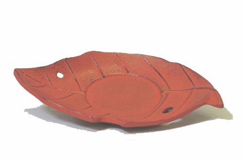 Iwachu Red Cast Iron Leaf  Coaster
