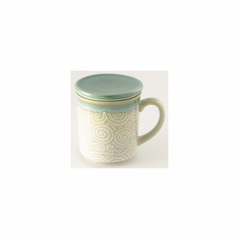 Jade Arabesque Mug with Lid & Infusion Strainer, 10 oz.