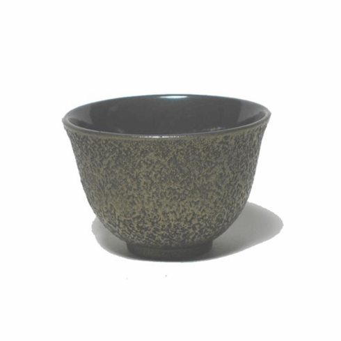 Japanese Blank and Gold Cast Iron Tea Cup, 5 oz.