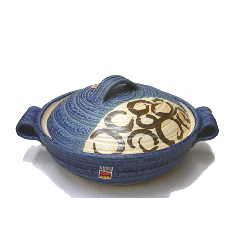 """Japanese Blue/Brown/Tan Donabe Pot 10-3/4"""" Made in Japan<font color=red><i>""""Out of Stock""""</i></font>"""