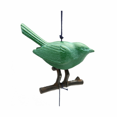 Japanese Cast Iron Green Songbird  <br>on a Branch Wind Chime